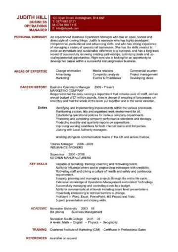 sample of resume operations manager 2