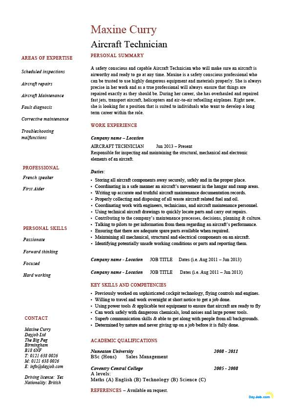 maintenance technician cv sample