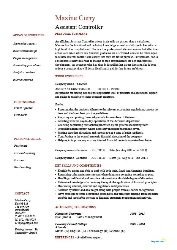 Assistant controller resume, sample, example, accounting, finance