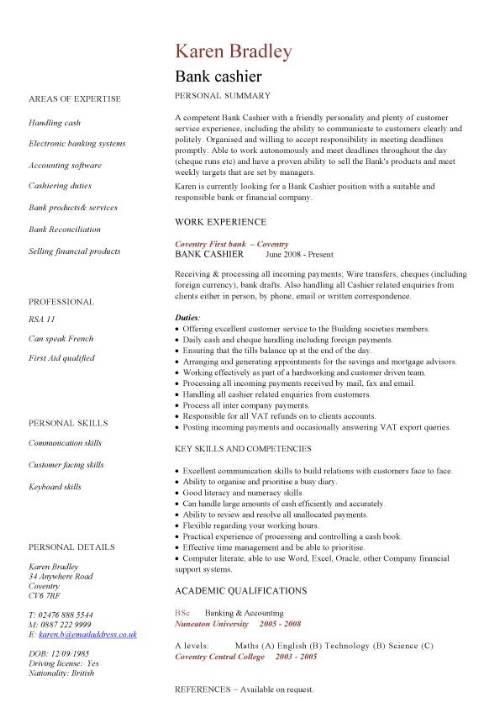 Bank cashier CV sample, Excellent face-to-face communication skills