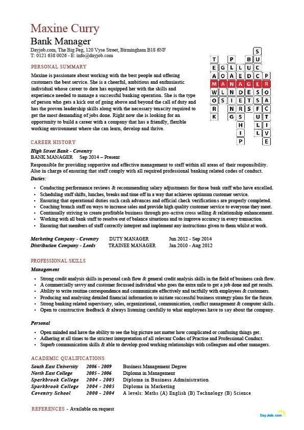 Bank Manager CV template, bank manager jobs, CV example, customer
