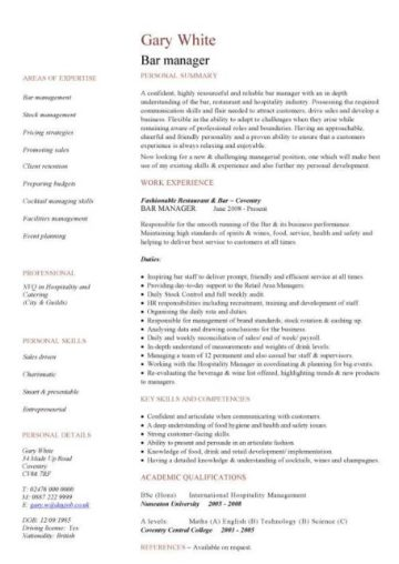 assistant bar manager cv template
