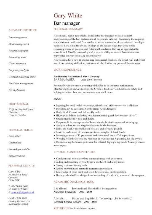 bar manager job description - Canasbergdorfbib