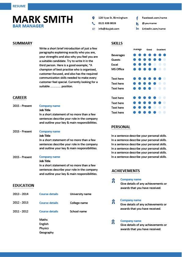 bar manager CV sample, job description, assess pub performance