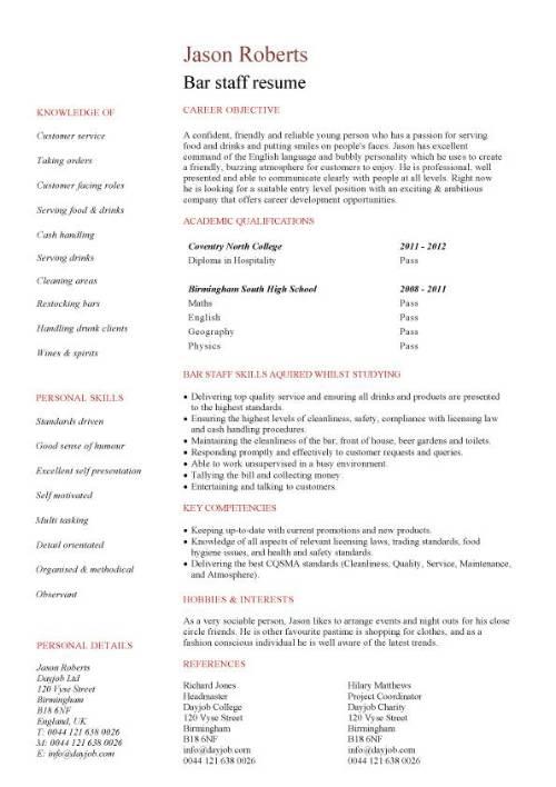 assistant bar manager cv template