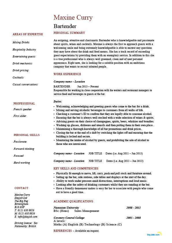 Bartender resume, hospitality, example, sample, job description