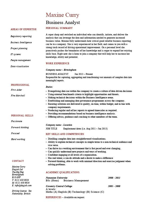 Business Analyst CV template, CV example, project manager, CRM