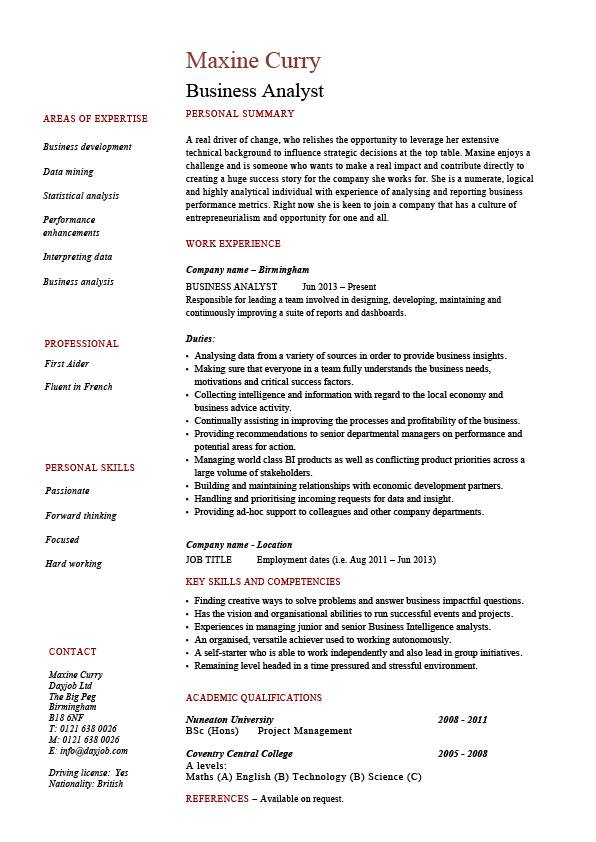 Business analyst resume, example, sample, professional skills