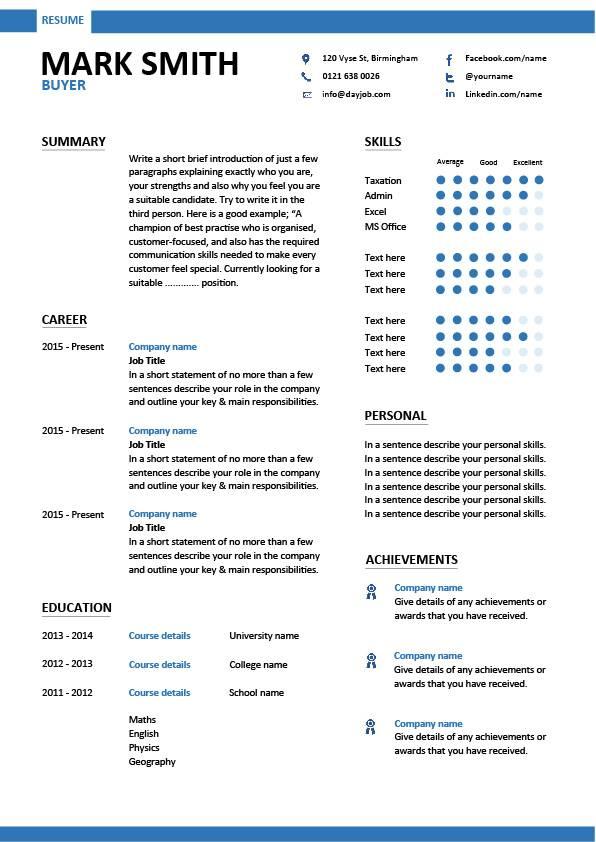Buyer resume, sample, template, example, job description, key skills