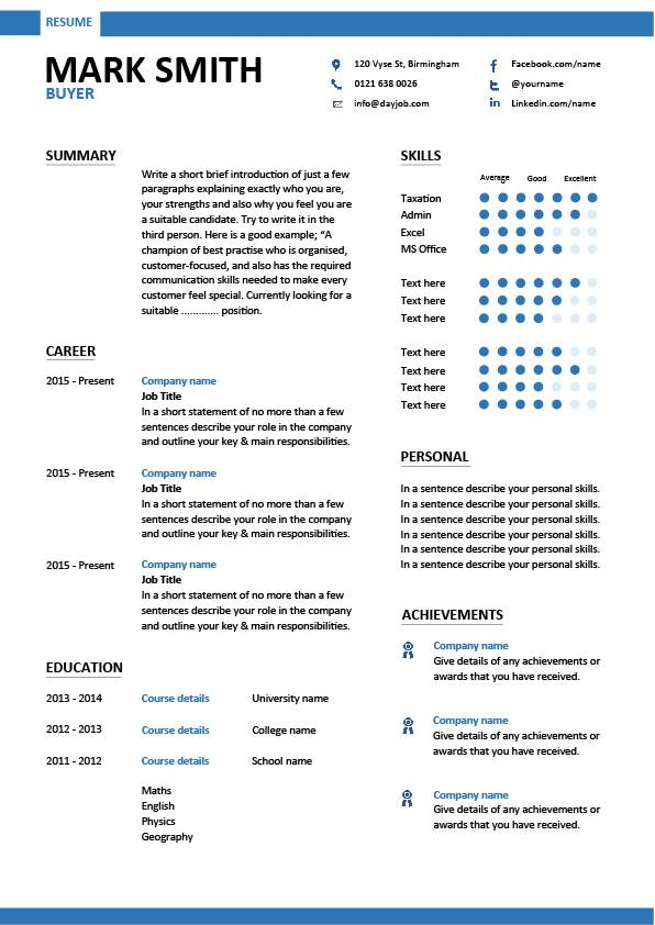 resume templates that show accomplishments