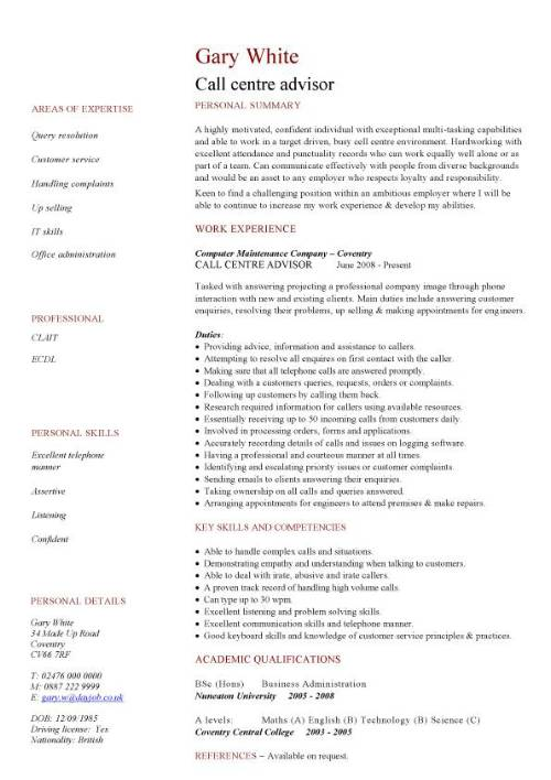 Call centre CV sample, High energy, resilience, and excellent time