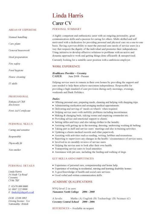 carer CV sample, bathing, washing, shaving, oral hygiene and hair