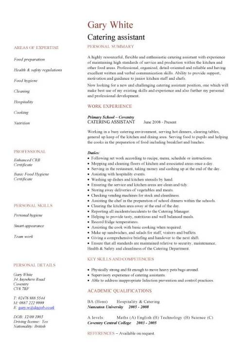 catering assistant CV sample, kitchen catering environment