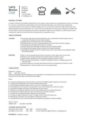 head chef resume templates