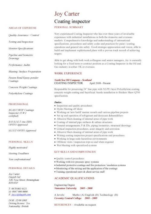 Coating inspector CV sample, engineering jobs, painting