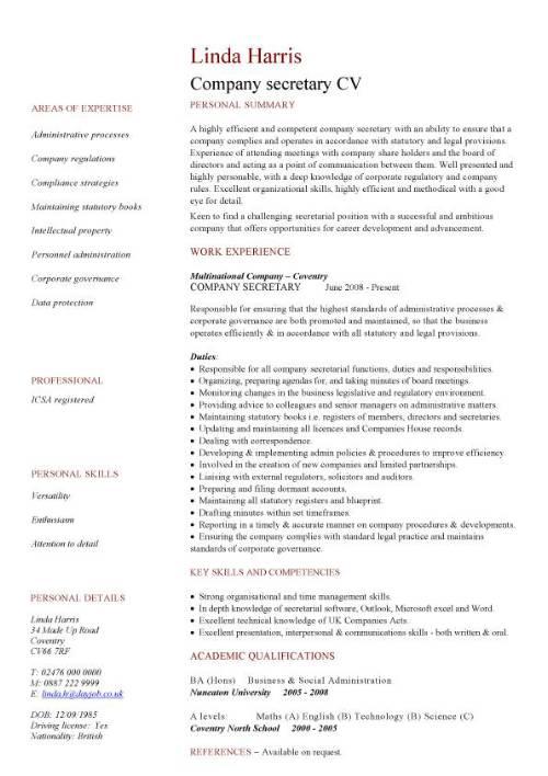 company secretary CV sample, Job description and activities, company