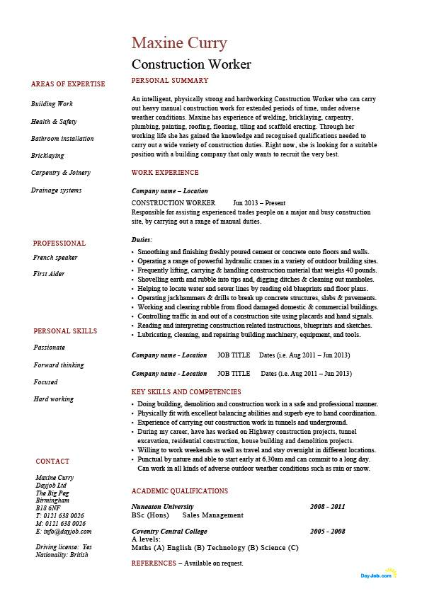 Construction worker resume, building, example, sample, job