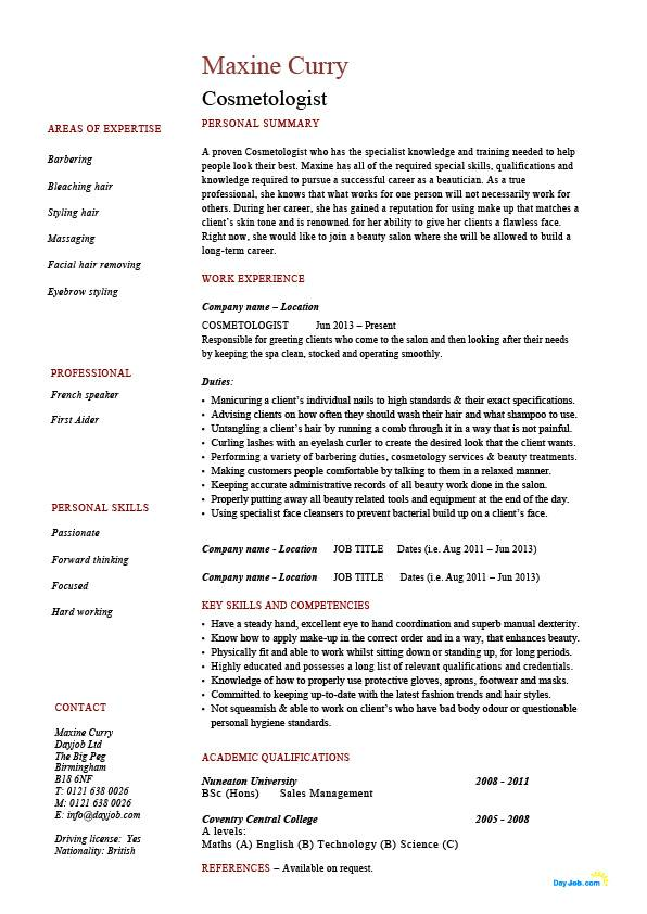 Cosmetologist resume, barbering, make up, example, sample, hair