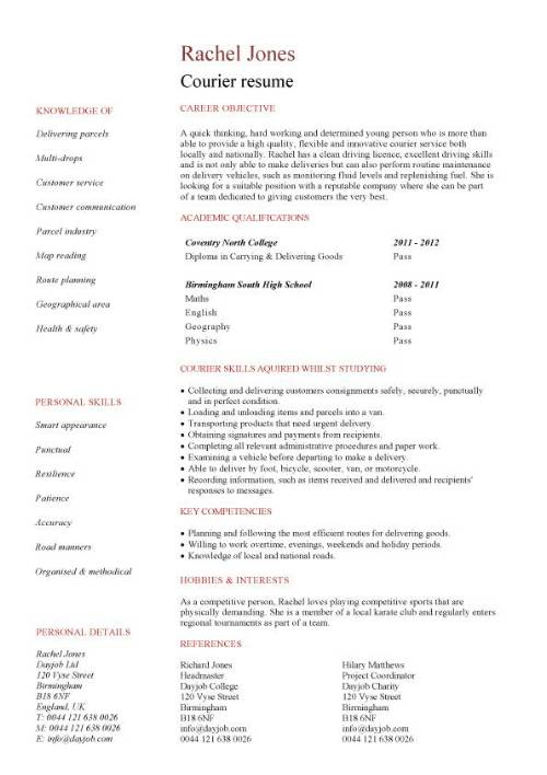 Student entry level Courier resume template