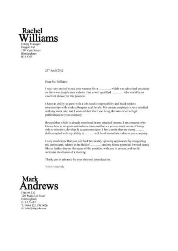 hospitality cover letter examples