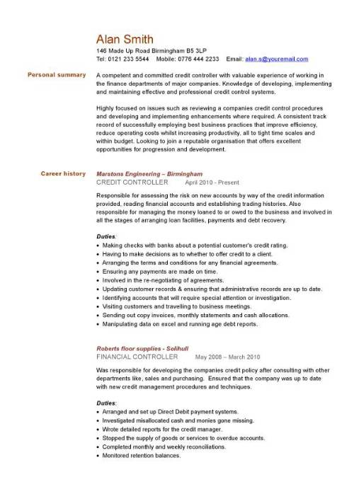 credit controller CV sample, managing information or general