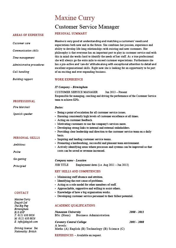 Customer Service manager resume, sample, template, client
