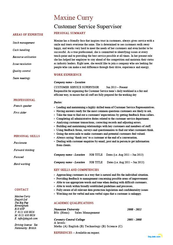 Customer service supervisor resume, managing people, professional