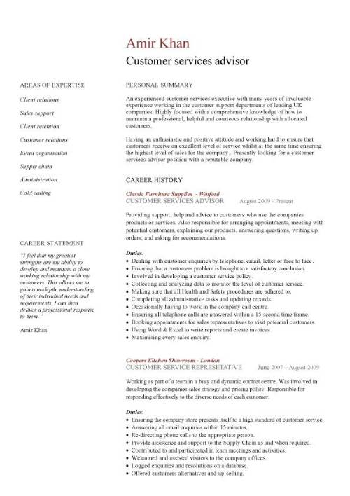 Customer services advisor CV sample, excellent communication skills