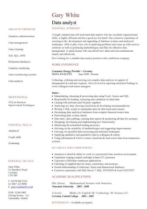data analyst CV sample, experience of Data Analysis and Data