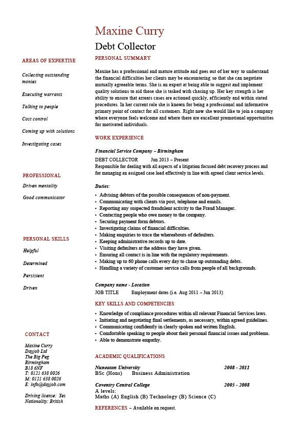 Debt collector resume, loans, job description, example, sample
