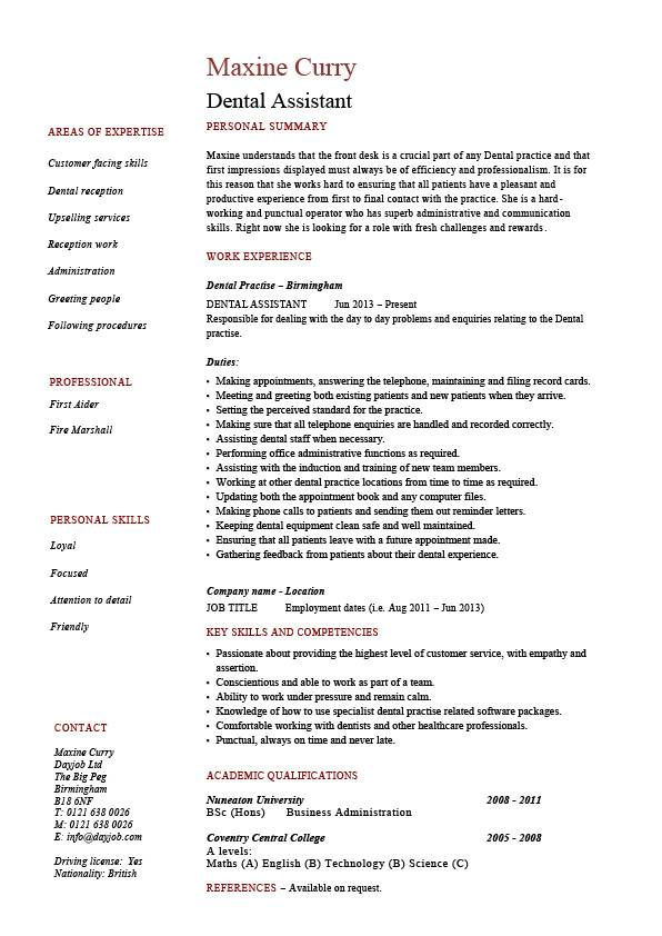 resume examples for dental assistant - Canasbergdorfbib