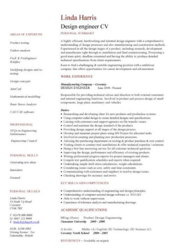 cv template design engineer