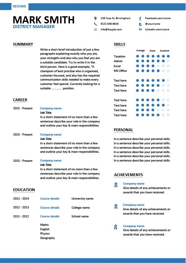 District Manager resume, CV, examples, sample, template, local