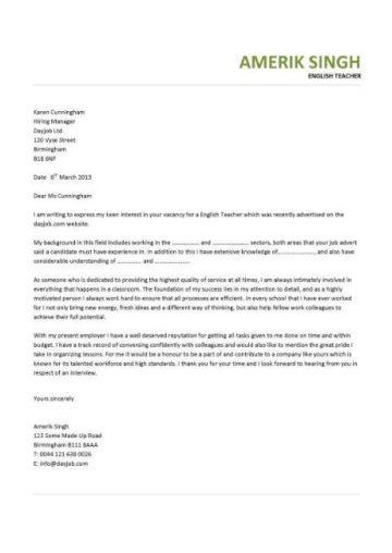 english teacher cover letter sample cover letter for