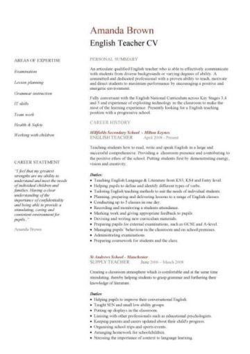 Teacher CV template, lessons, pupils, teaching job, school, coursework