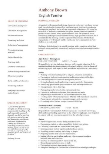 English teacher CV sample, assign and grade class work, homework
