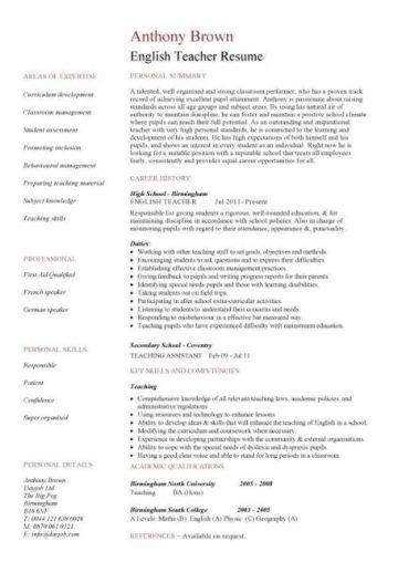 English teacher resume template, CV, examples, teaching, academic