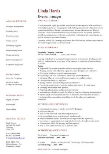 Hospitality CV templates, free downloadable, hotel receptionist - Hospitality Resume