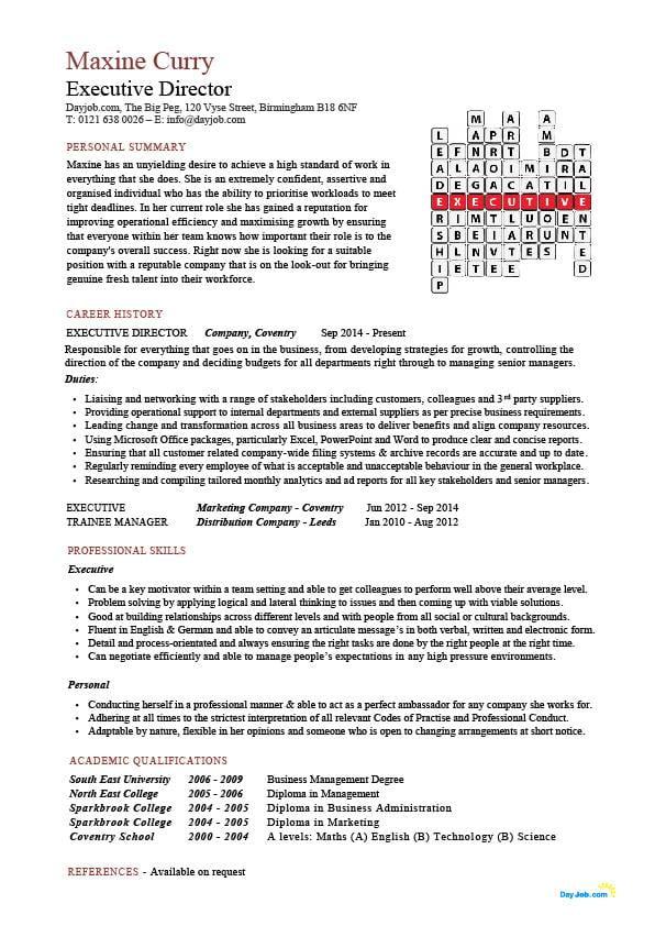 Executive director resume, management, example, sample, job