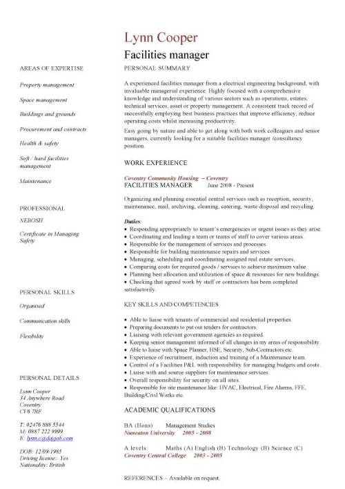 facilities manager resumes