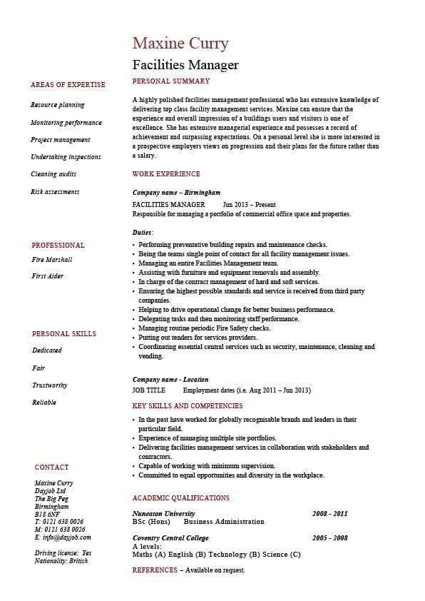 Facilities manager resume, property maintenance, job description