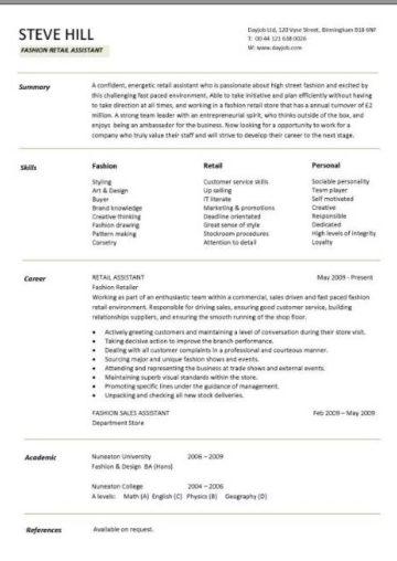 Retail CV template, sales environment, sales assistant CV, shop work