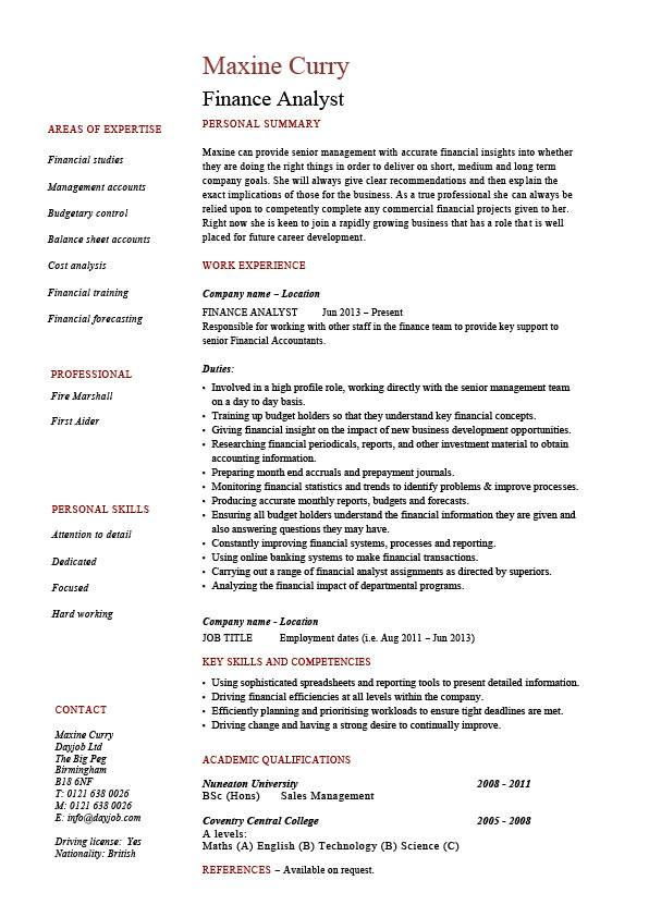 Finance analyst resume, analysis, sample, example, modelling