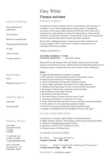 finance assistant cv sample