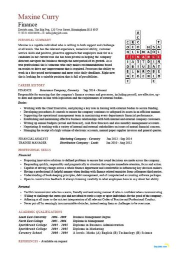 Financial CV template, Business administration, CV templates