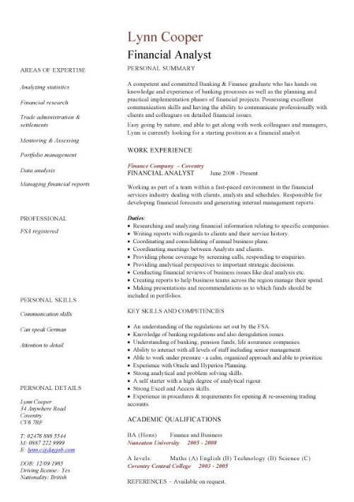 Financial analyst CV sample, interrogating financial data, financial
