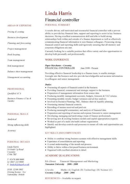 financial controller CV sample, job description, resume, CV writing