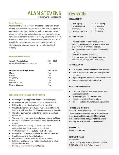 laborer job resume examples