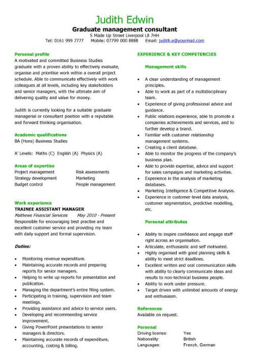 Graduate management consultant CV sample, team leader, CV writing