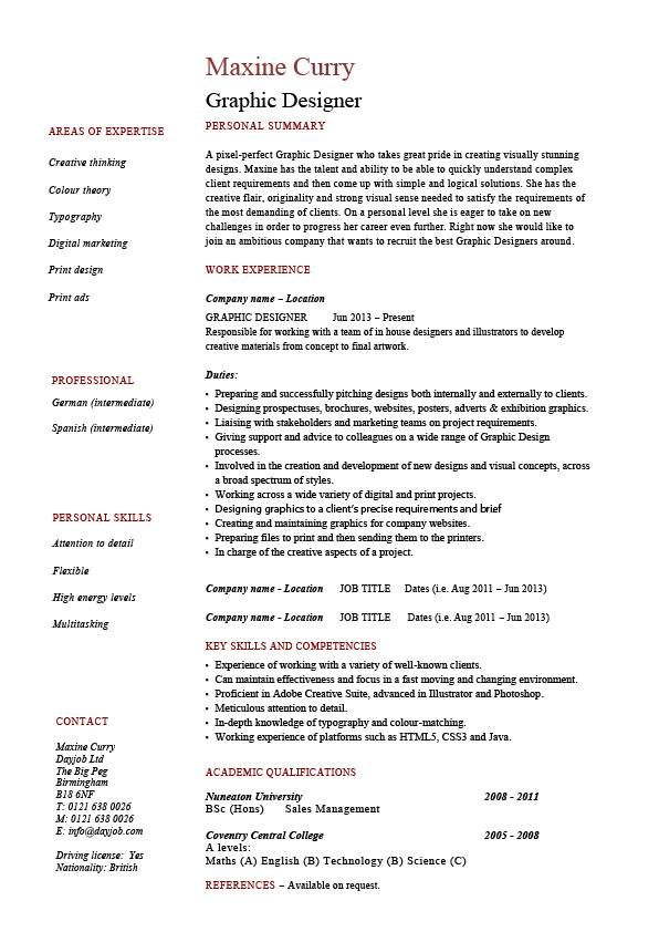 resume graphic designer with work examples